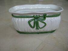 Hand Painted Porcelain White With Green Rope Bow Planter Made in Portugal