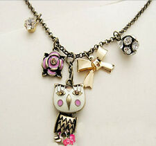 Vintage Bowknot Rhinestone Ball Enamel Flower Cute Owl Pendant Bronze Necklace