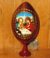 Genuine Russian Egg Joseph Virgin Mary BABY JESUS Icon NATIVITY CHRISTMAS GIFT