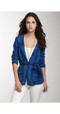 "WHAT GOES AROUND COMES AROUND WGACA ""SILVIA"" BLUE GOAT SUEDE CARDIGAN TOP L"