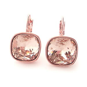 Blush Rose Gold Plated Crystal Drop Earrings w/ 12mm Cushion Cut Swarovski Prom