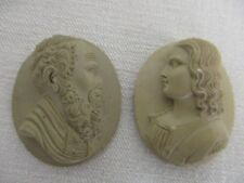 PAIR OF ANTIQUE CARVED LAVA CAMEOS ~ MAN WITH BEARD & LADY ~ 1 3/8""