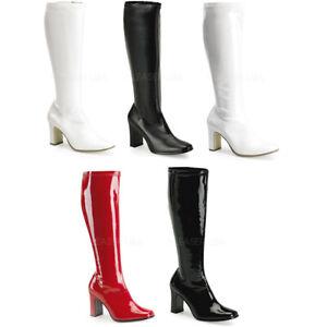 Pleaser Kinky Inner Side Zipper Knee High Chunky Heel Gogo Heels Shoes KIKI350/B