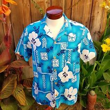 Vintage 70s Tropical Aloha Hawaiian Tapa Floral Dolphin California Blue XL Shirt