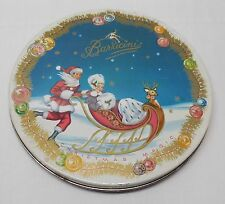 Round Tin Santa Woman Sleigh Ornaments 1953 Barricini Christmas Magic Vintage