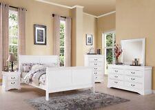 Antique Brass Hardware 4pc White Bedroom Set Twin Bed Dresser Mirror Nightstand