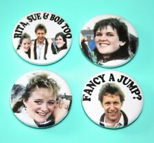 Set Of 4 Rita, Sue And Bob Too Movie button pin badges
