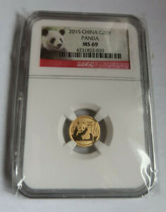2015 Panda .999 Gold 1/20 Oz. NGC MS69 5 Yuan GEM Coin Sealed in Plastic Bag
