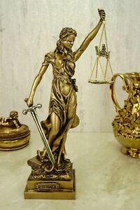 Alabaster Justitia Göttin Figur Skulptur gold BGB Recht Gerechtigkeit 32 cm
