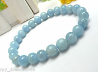 Genuine 10mm Natural Blue Aquamarine Gemstone Round Beads Stretch Bracelet 7.5''