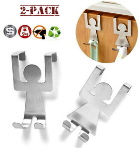 Over The Door Hooks Stainless Steel Kitchen Drawer Hanger New Human Shape - 2pcs