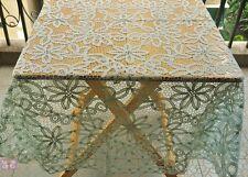 "Gorgeous 67"" Round Light Green FULL Battenburg Lace  Cotton Tablecloth Doily"