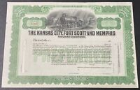 Kansas City Fort Scott & Memphis Railway Company Stock Certificate Railroad. ***