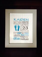 BABY BIRTH ANNOUNCEMENT embroider personalize custom gift item picture quilt