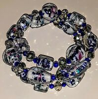 Memory wire bracelet BLUE glass beads. CHARMS ON BOTH ENDS.  FREE SHIPPING