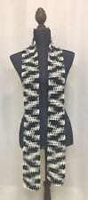 "Hand Crocheted Ladies Scarf (Handmade, Black, White, Grey, ""Zebra"", Fashion)"