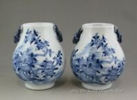 A Pair Chinese Old Blue and White Porcelain Deer-head ZUN Vases,Brush Pots