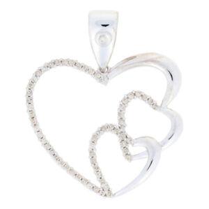 1.00ctw Round Brilliant Diamond Pendant - 14k White Gold Love Heart Trio