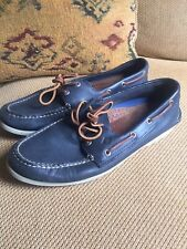 Mens Navy Boat Shoe Leather Sperry Top-Sider Slip On Non Marking Sole Size 11M