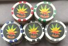 25  Weed/Pot/Canabis/Hemp Plant Poker Chips - New, Five Colours - 12g, 39mm