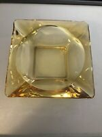 Vintage Mid-Century Modern Amber Square Glass Cigarette Cigar Ashtray