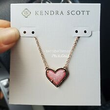 NWT KENDRA SCOTT Ari Heart Pendant Necklace in ROSE GOLD/ PINK DRUSY SOLD OUT