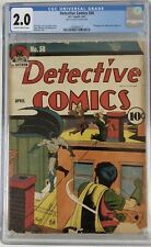 (1941) DETECTIVE COMICS #50 CGC 2.0! Rare Golden Age BATMAN & ROBIN! Bob Kane!
