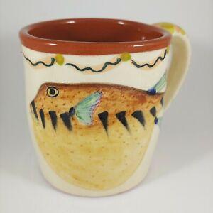 HANDMADE Puffer Fish Mug - Rustic Brown & Beige Painted 10oz Ceramic Coffee Cup