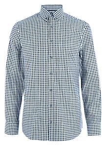 M&S Marks Spencer Men Tailored Fit Easy Iron Gingham Shirt White/Navy BNWT