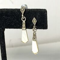 VINTAGE Signed M Sterling Silver 925 EARRINGS Mother Of Pearl Marcasite DANGLE