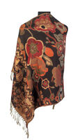 Look Effect Pashmina Floral & Paisley Design Reversible Scarf Large Shawl Wrap