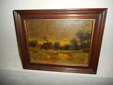 Old oil painting,{ Landscape with a farm, woman, chickens and ducks, is signed}.