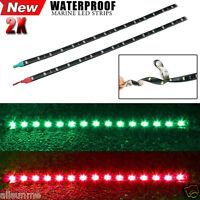 2x Car Boat Navigation LED Lighting RED & GREEN Waterproof Marine LED Strips UK
