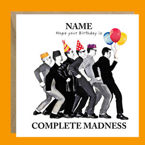 Personalised MADNESS Ska Two-Tone Retro Funny Birthday Card Him Her Friend Dad