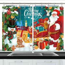 Santa Claus Christmas Window Treatments for Kitchen Curtains 2 Panels 55X39 Inch