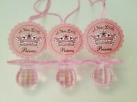 12 Princess Pacifier Necklaces Baby Shower Pink Favors Its a Girl Game Recuerdos