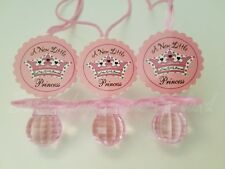 12 Princess Diamond cut Pacifier Necklaces Baby Shower Pink Favors Girl Game