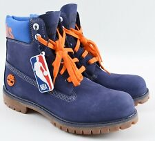 TIMBERLAND Men's NBA KNICKS Genuine Leather Boots, Blue with Orange Laces, UK 9