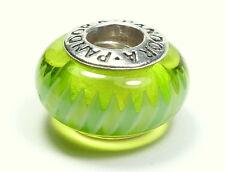 AUTHENTIC PANDORA 925 ALE SILVER & GREEN MURANO GLASS ZIGZAG BEAD CHARM 790616
