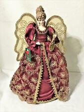"""Christmas Porcelain Angel Tree Topper Burgundy & Gold Gown Sparkling Wings 17"""""""