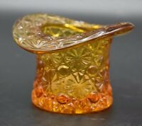 "Fenton American Art Glass Yellow Amber Daisy Button 3 1/2"" Top Hat Figurine"
