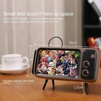 Mini Portable Retro BT Bluetooth Speaker Music TV Design Mobile Phone Holder Spe