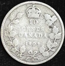 1903 H Canada, Silver 10 Cents, Good Condition, Free Shipping in USA, C3600