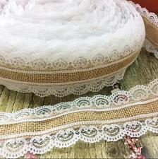 DIY 2M manual Christmas wedding Decor Natural Jute Both sides lace Burlap Ribbon