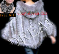 Long Hood Genuine Real Raccoon+Rabbit fur cape/scarf/Poncho Natural Gray Brown