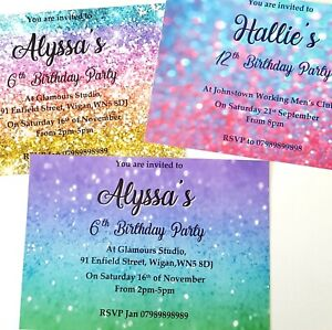 Girls personalised birthday party invitation rainbow pink blue glitter 10 6 13th