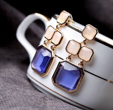 Boucles d'Oreilles Doré Chandelier Carré Beige Bleu Violet Mauve Vintage DD10