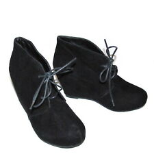 Bamboo Carmela Women's Shoes Size 5 - 5.5 Black Faux Suede Wedge Lace Up Booties