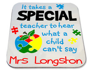 Personalised Printed Coaster end term gift school autism special teacher quote