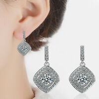 Women Silver Studs Austria Crystal Dangle Drop 18K White Gold Plated Earrings